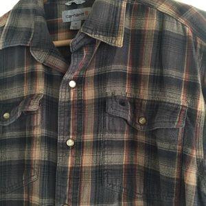 Carhartt brown button up men's shirt